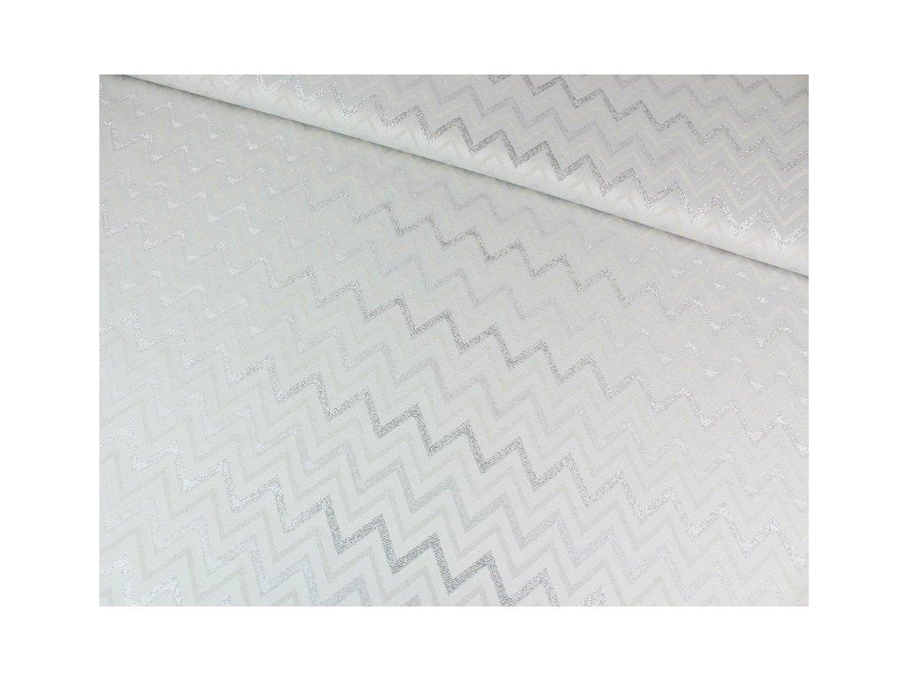 Stříbrná dekorační látka šíře 160 cm s leskem světlá