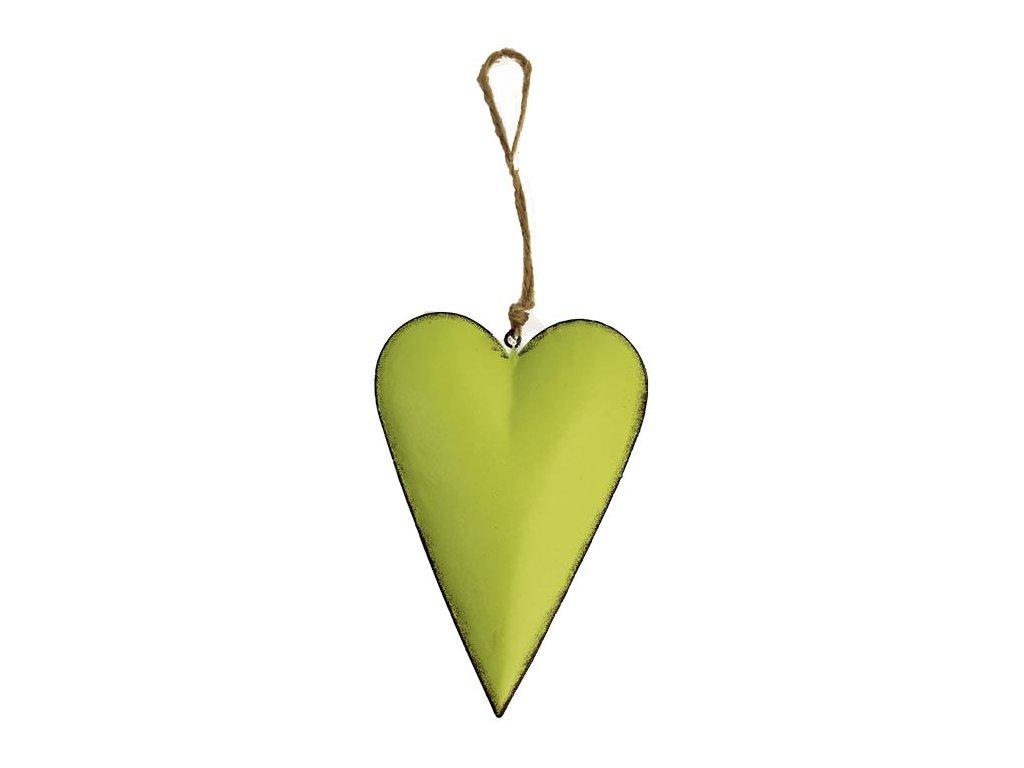 Srdce k zavěšení K0425/1 7,8x1,7x11,5 cm zelené