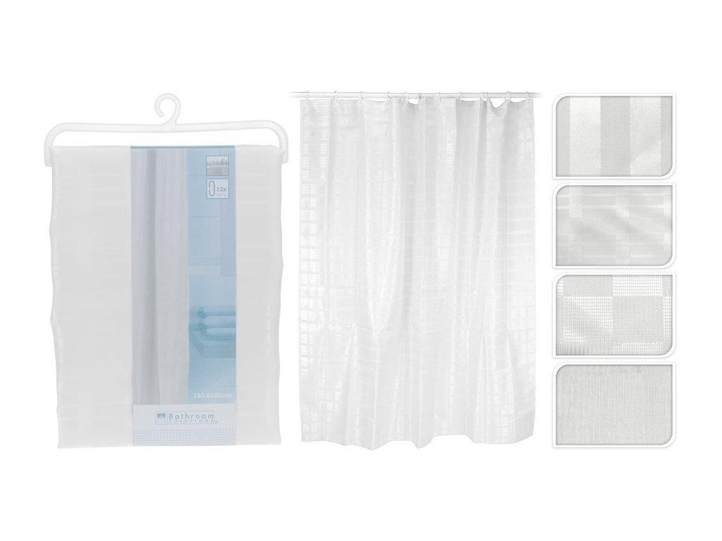 Sprchový závěs 180x180 cm bílý/čtverce