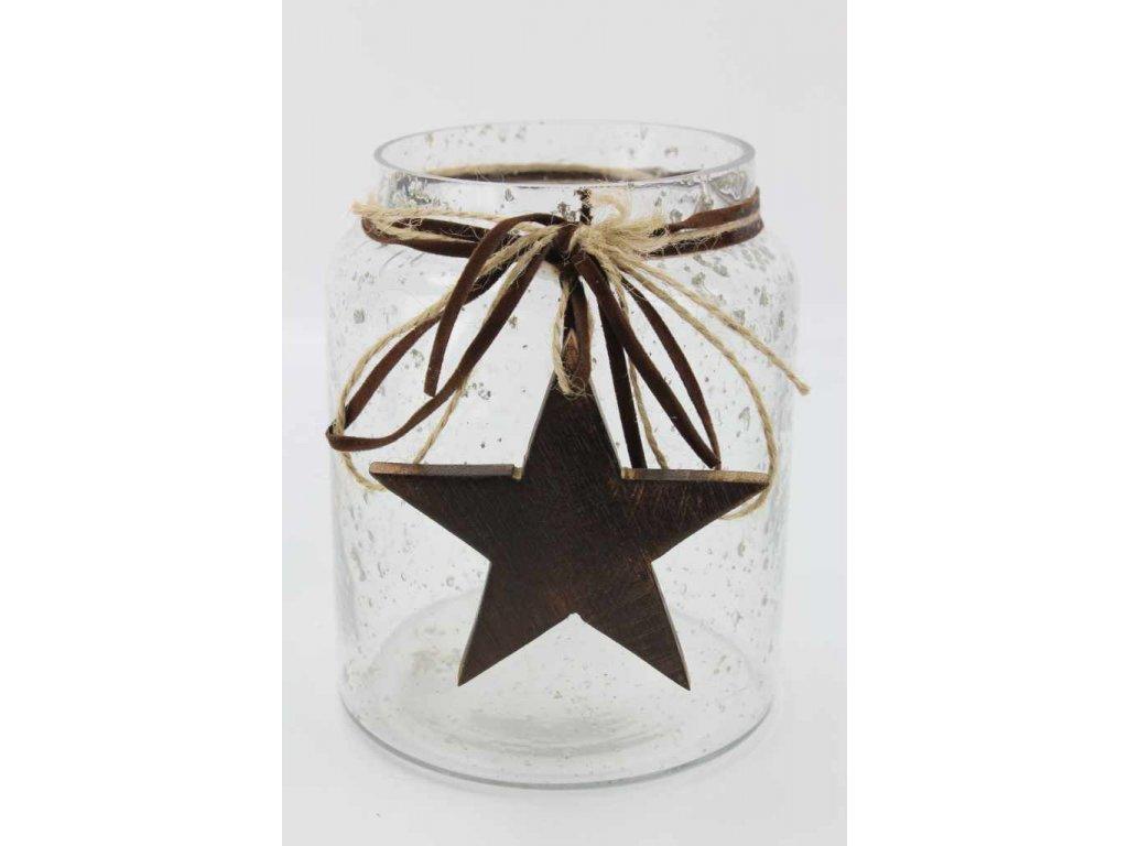 Skleněný vánoční svícen s dřevěnou hvězdou 10x10x12,5 čirý
