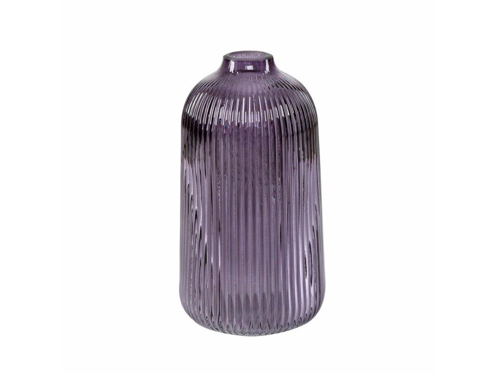 Skleněná váza výška 21 cm fialová