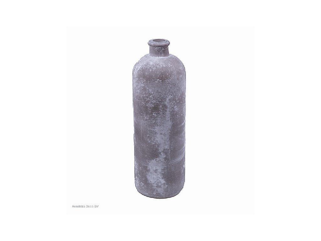 Skleněná váza FROSTED šedá 33 cm