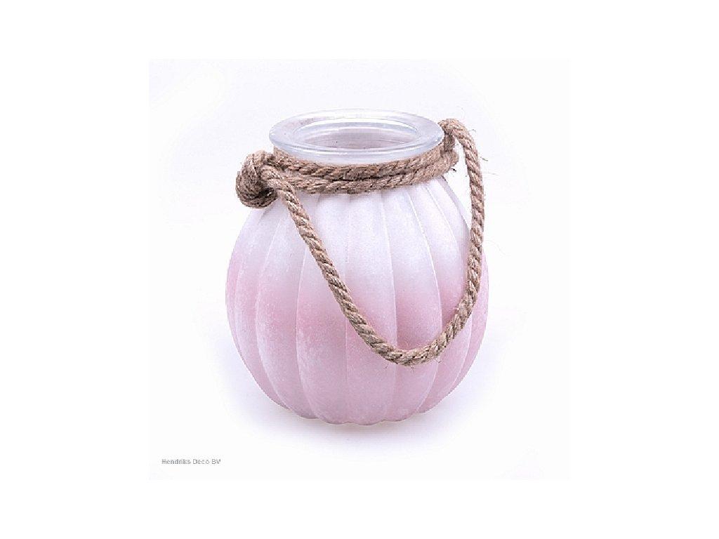 Skleněná váza FROSTED bílo/růžová 21 cm
