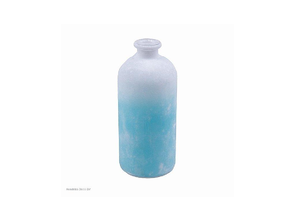 Skleněná váza FROSTED bílo/modrá 25 cm