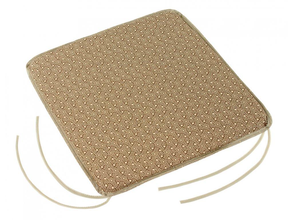 Sedák hladký s úvazy 40x40 cm mandaly hnědé
