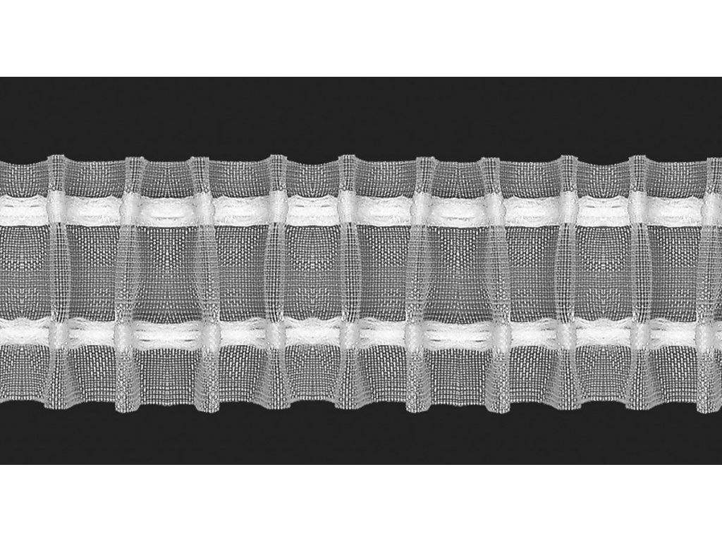 Řasící stuha 20260/50 1:2 šíře 5 cm transparentní/bílá