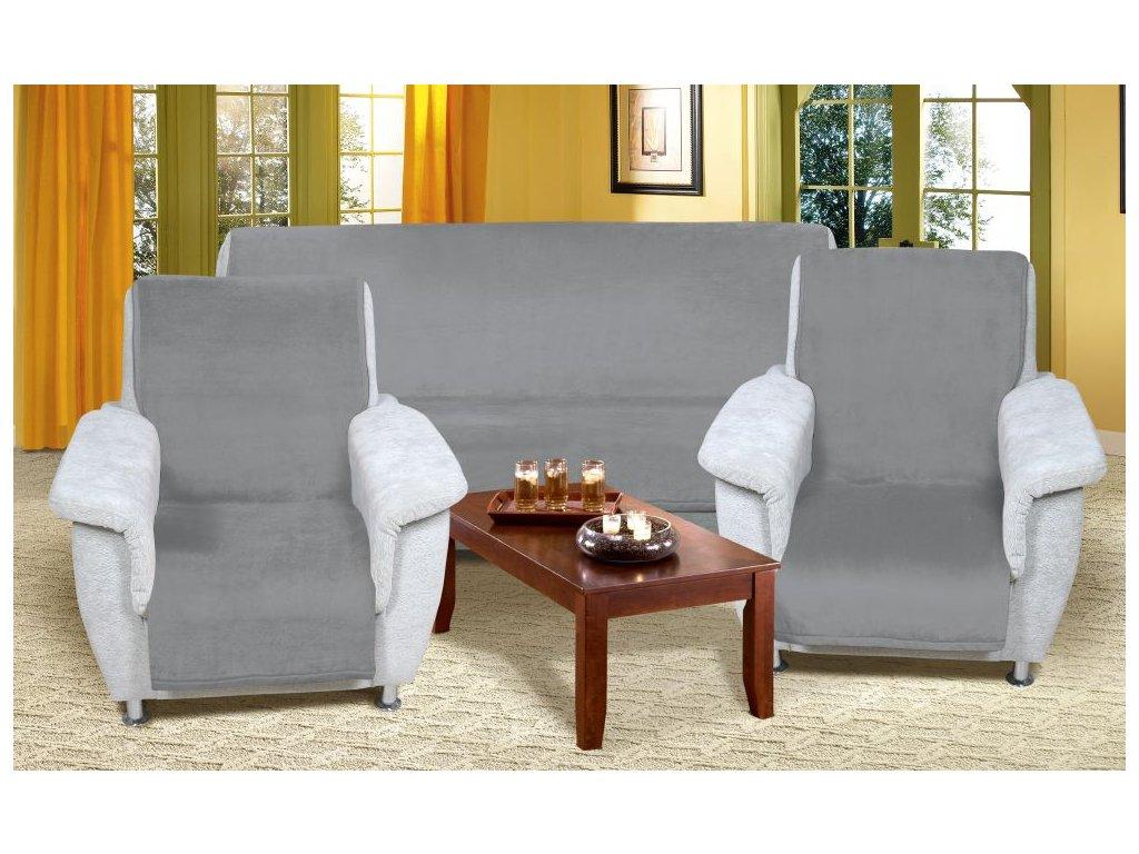 Přehozy na sedací soupravu 2ks 65x150, 1ks 150x200 cm šedé barva 042
