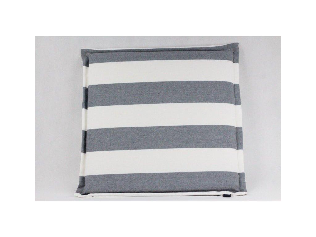 Pruhovaný sedák 40x40 cm bílý/šedý
