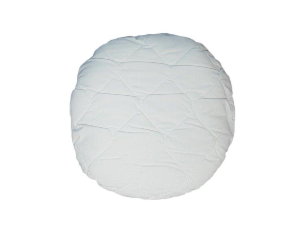 Prošívaný kulatý polštař průměr 40 cm bílý