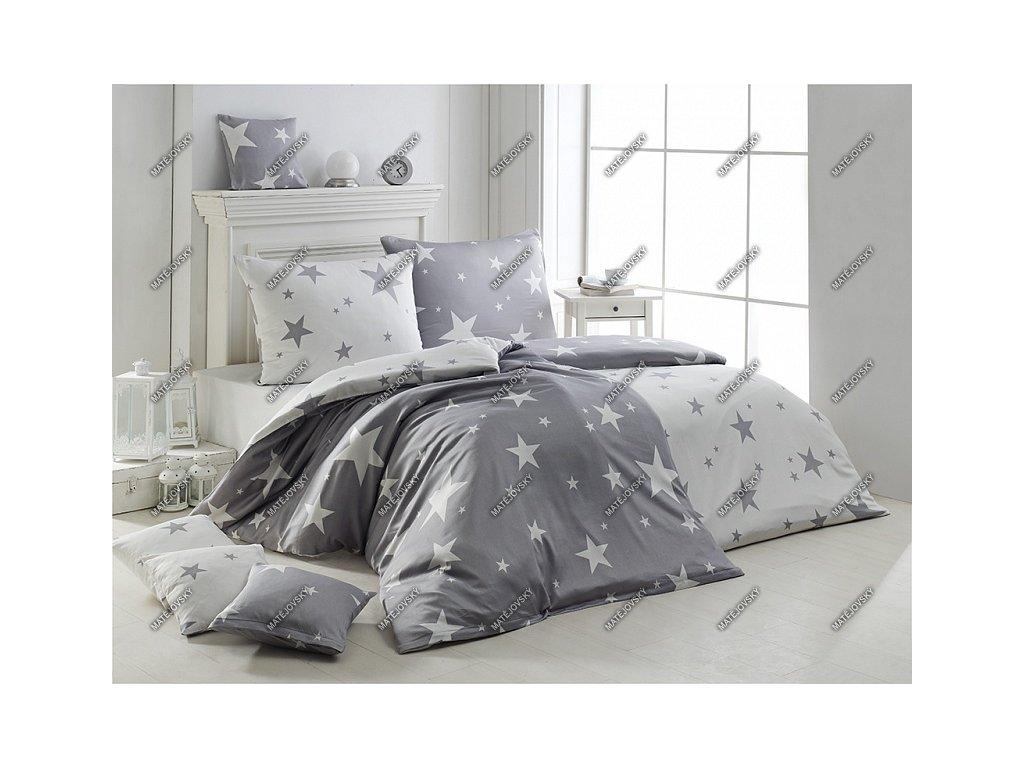 Povlečení Matějovský bavlna DELUXE New Star grey 2ks 70x90, 1ks 200x200 cm