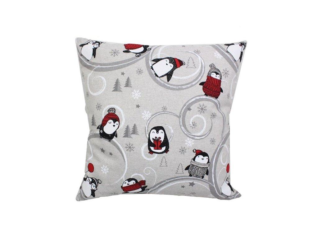 Povlak se zipovým uzávěrem Tučňáčci 40x40 cm zimní motiv přírodní/červená
