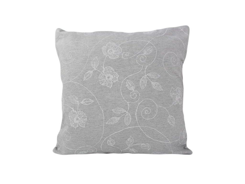 Povlak se zipovým uzávěrem Bílý květ 40x40 cm bílá/šedá