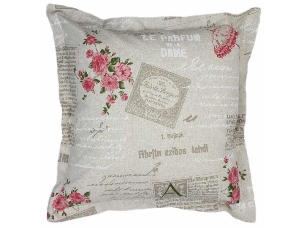 Povlak s lemem Růže 50x50 cm přírodní/růžová