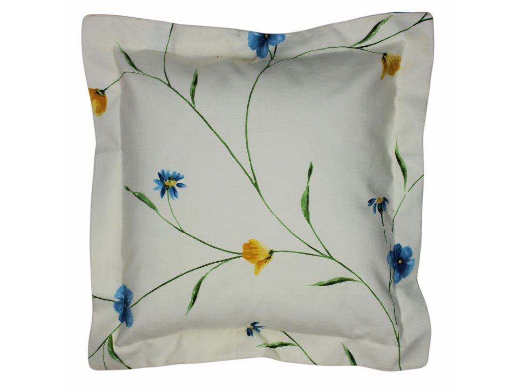 Povlak s lemem Květy 40x40 cm světlý