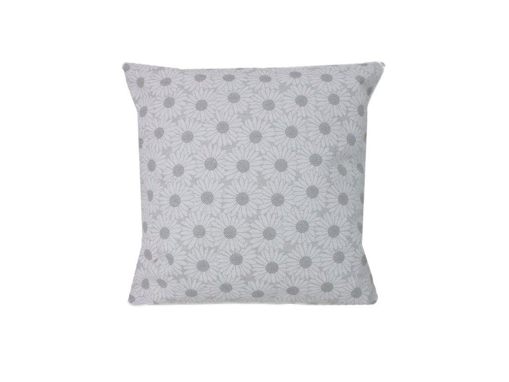 Povlak s květinovým vzorem 40x40 cm odstíny šedé