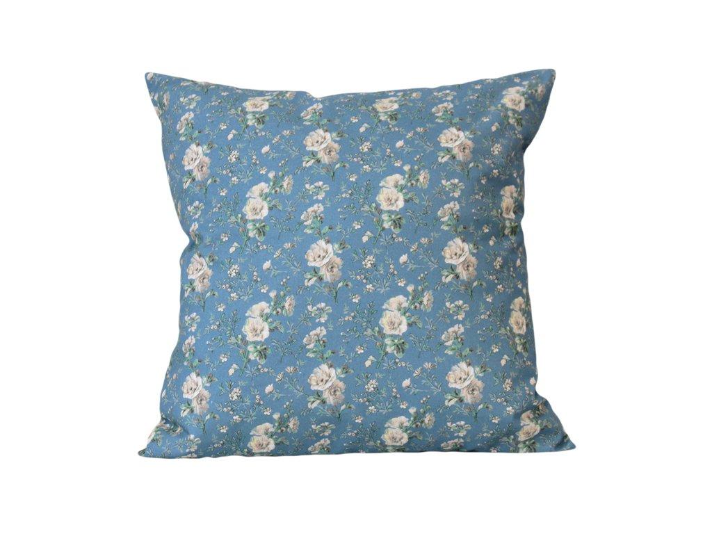 Povlak s květinovým vzorem 40x40 cm modrá/zelená