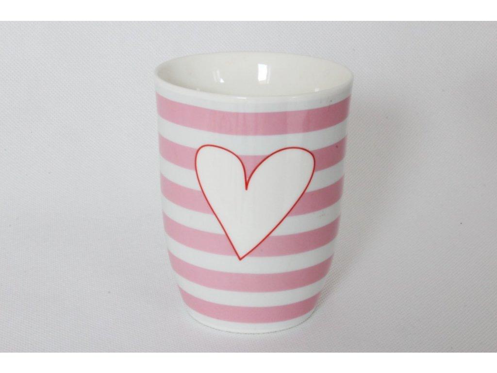 Porcelánový hrnek s ouškem SRDCE  růžová/bílá