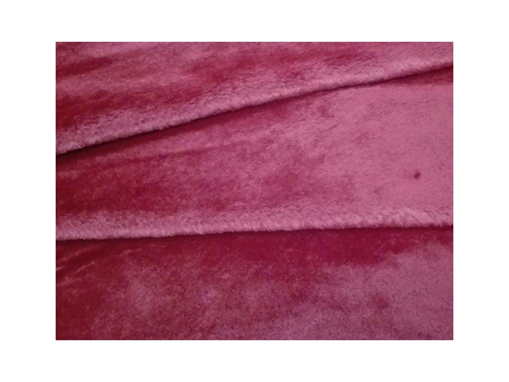 Plyš jednobarevný-metráž šíře 150 cm barva vínová