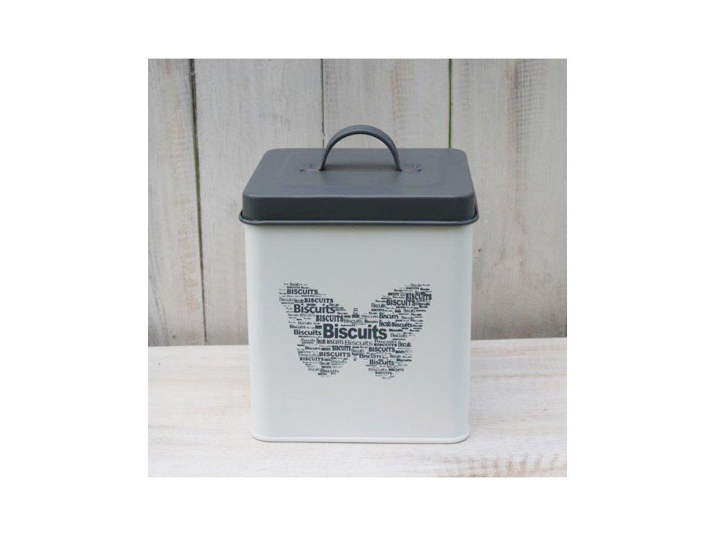 Plechová dóza Biscuits 16x14x14 cm šedá/smetanová