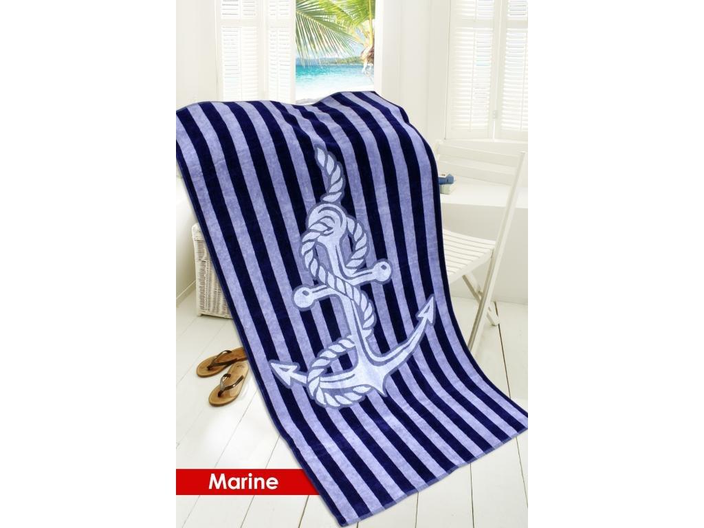 Plážová osuška MARINE 85x170 námořnický motiv
