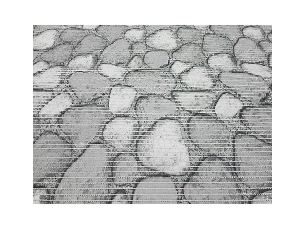 Pěnová podlahová krytina Kameny šíře 130 cm šedá/bílá
