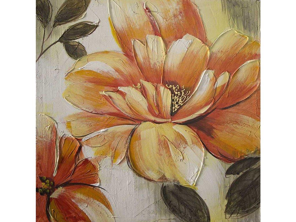 Obraz na plátně květinový motiv 60x60 oranžový