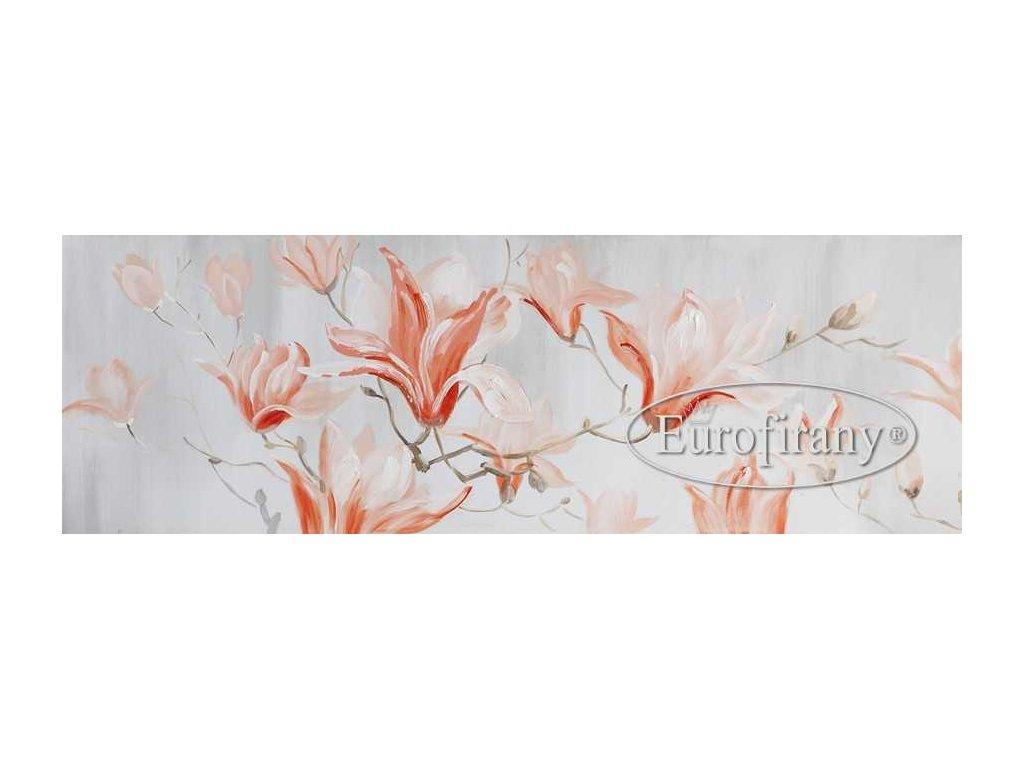 Obraz na plátně květinový motiv 50x150 oranžový
