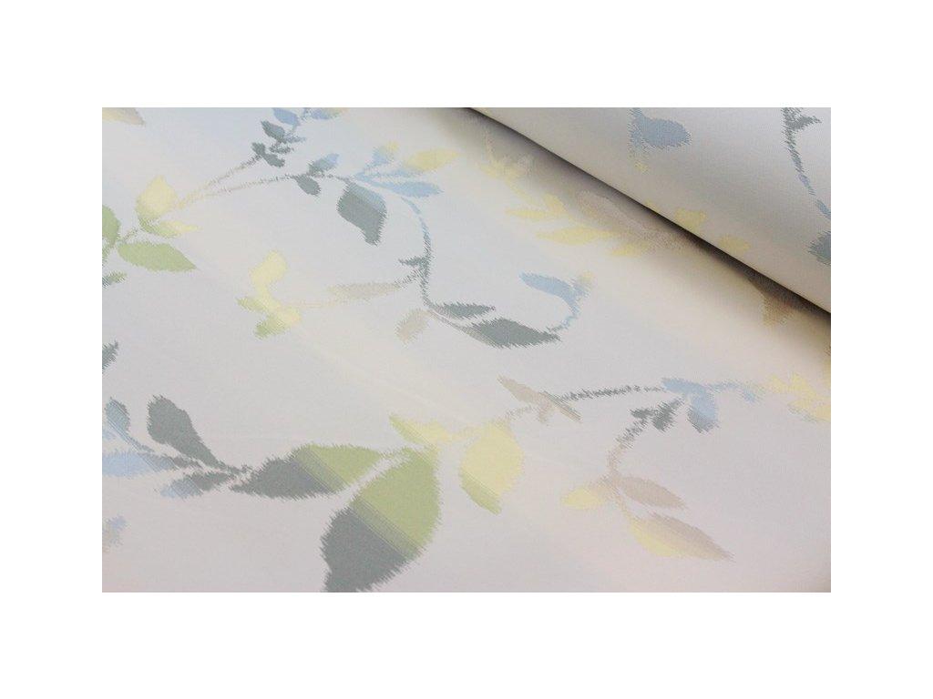 Oboustranná dekorační látka se vzorem šíře 140 cm smetanová/odstíny zelené