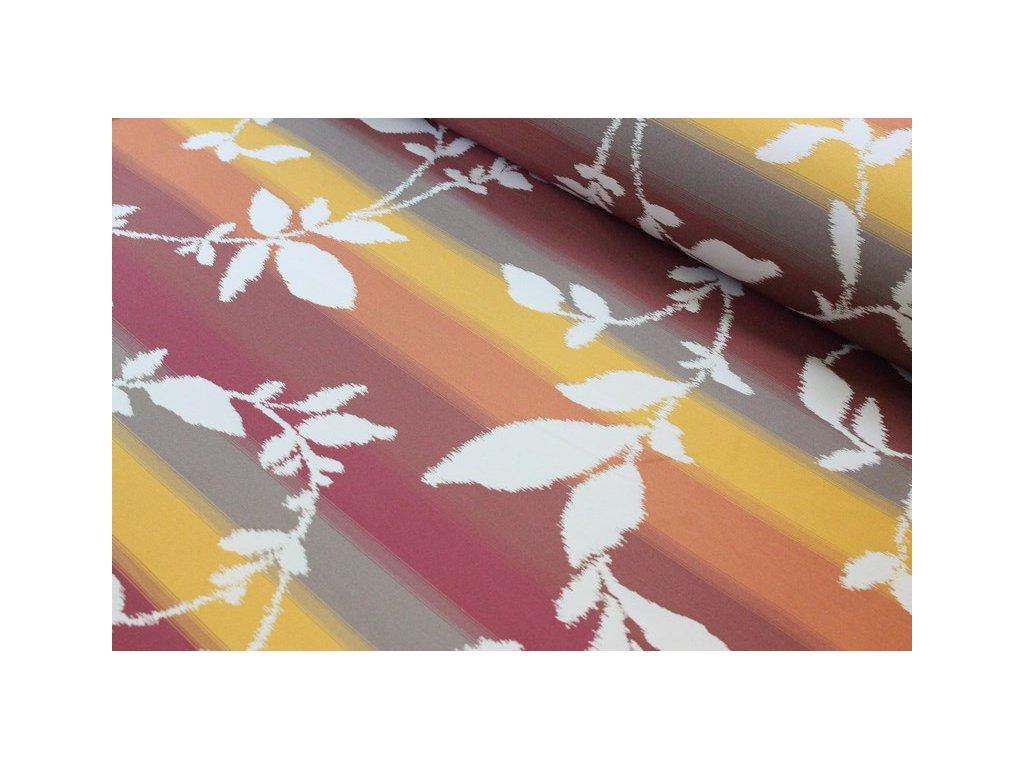 Oboustranná dekorační látka se vzorem šíře 140 cm  smetanová/cihlová