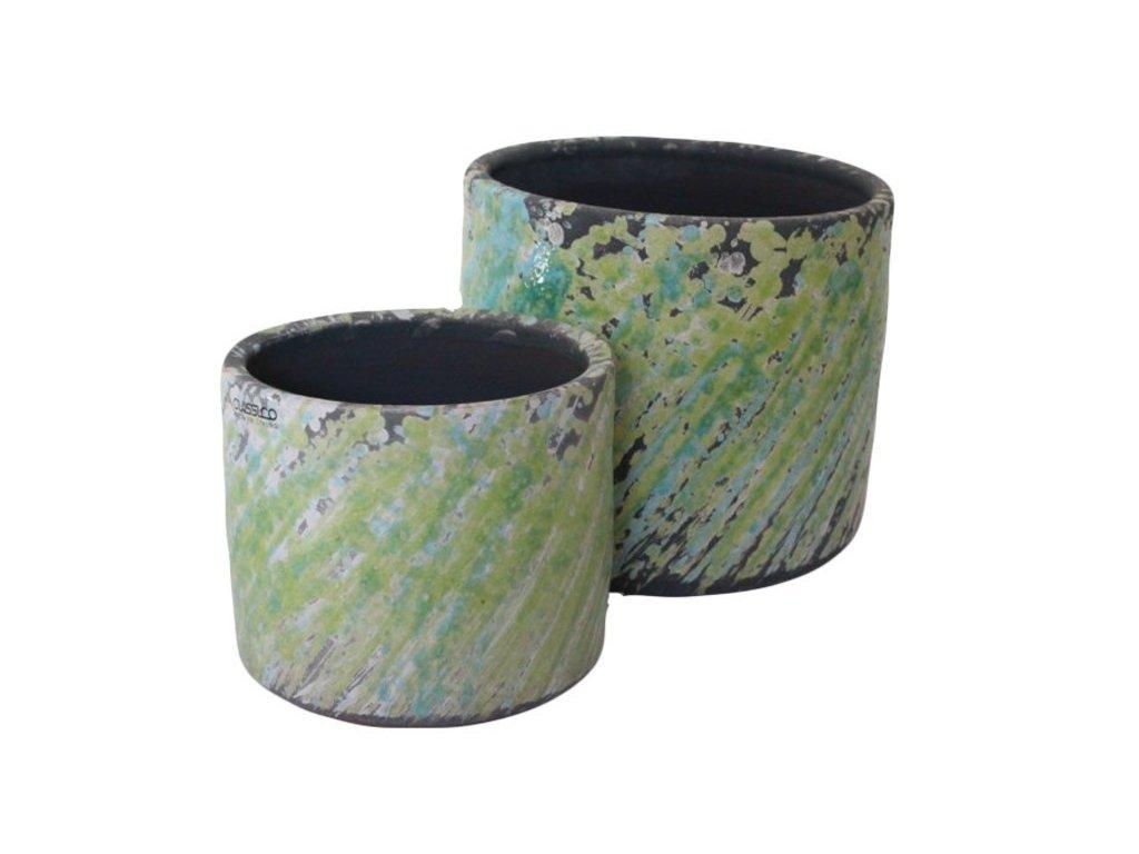Obal na květináč 18x18x16,5 cm zelená/tyrkysová