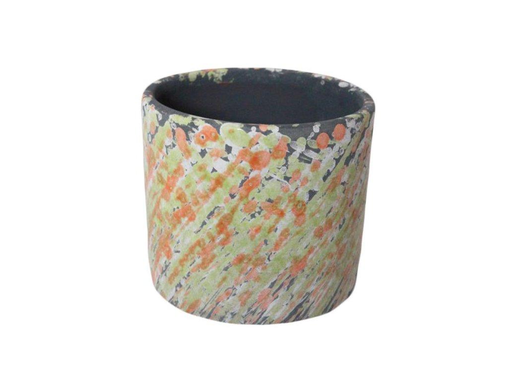 Obal na květináč 15x15x12,5 cm zelená/oranžová
