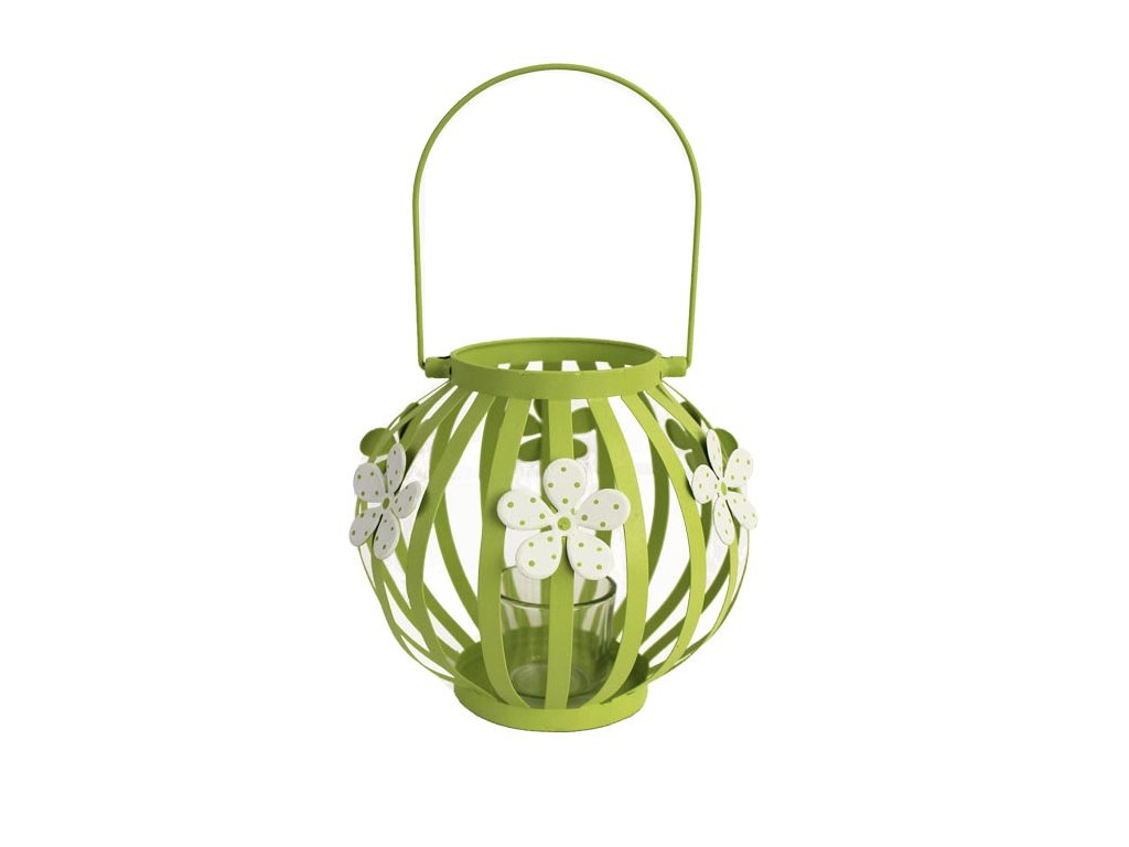 Lucerna kovová K0434/1 14x11,5 cm světle zelená