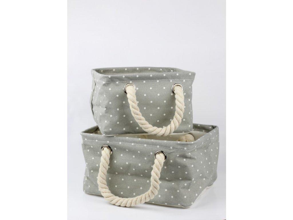 Látkový koš s puntíky 2 kusy v balení šedý