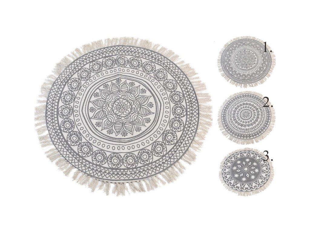 Kusový koberec kulatý průměr 90 cm smetanová/šedá