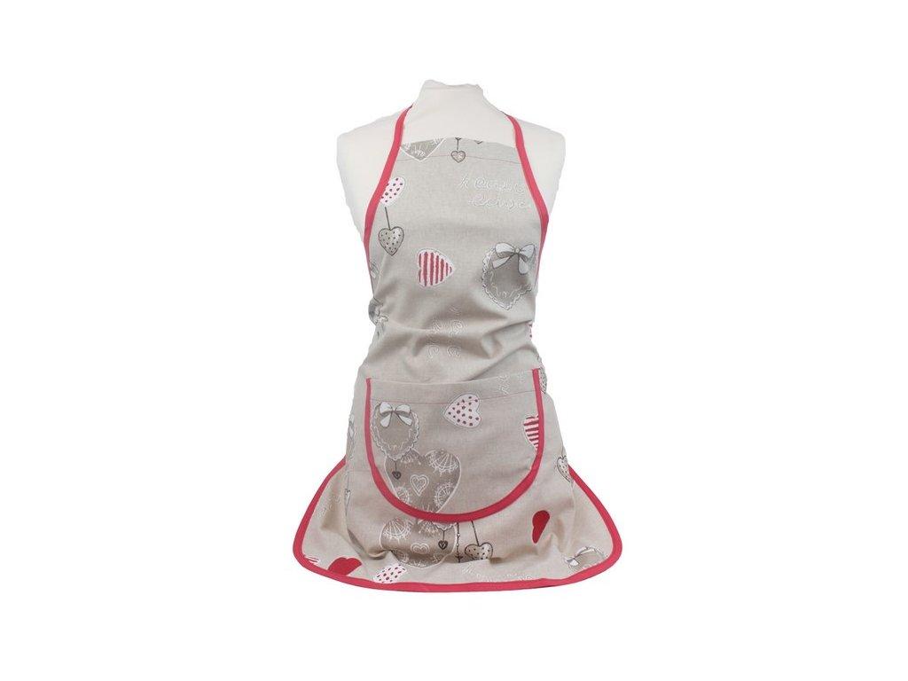 Kuchyňská zástěra Srdce a nápisy 60x75 cm přírodní/červená