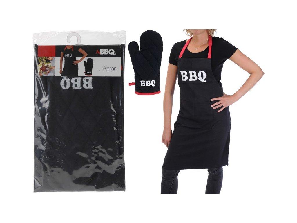 Kuchyňská zástěra BBQ s chňapkou 60x84 cm černá/červená