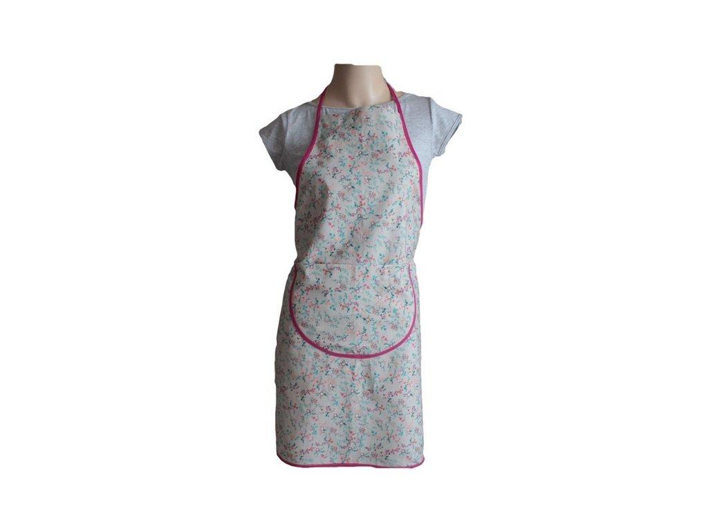 Kuchyňská zástěra bavlněná s kapsou 55x75 cm přírodní/růžová