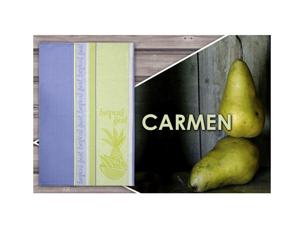 Kuchyňská utěrka Carmen 50x70 cm fialová/hořčicová