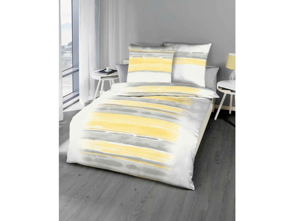 Krepové povlečení se zipovým uzávěrem Blend 775/404 70x90, 140x200 cm žluté