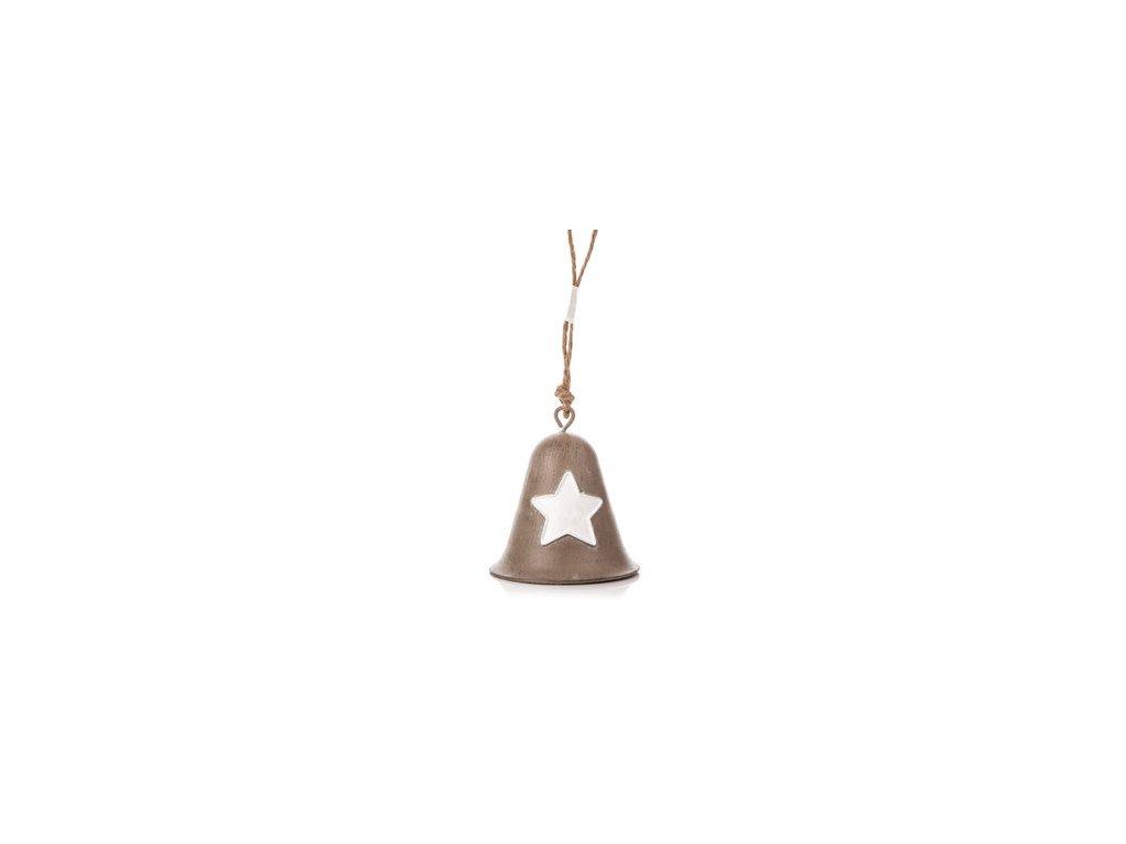 Kovový zvoneček s bílou hvězdou šedý