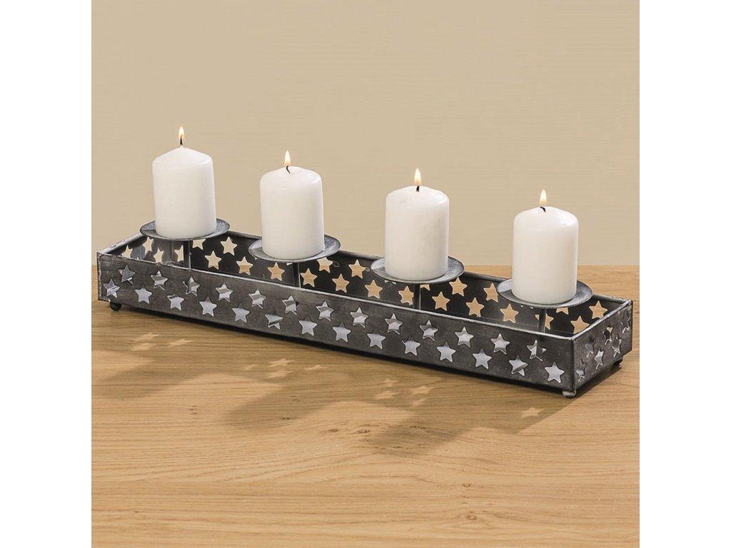Kovový svícen na 4 svíčky 8x10x42 cm tmavě šedý