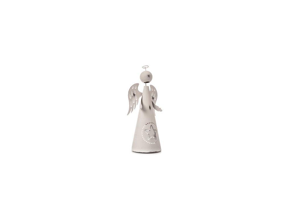 Kovový anděl s hvězdou výška 33 cm bílý