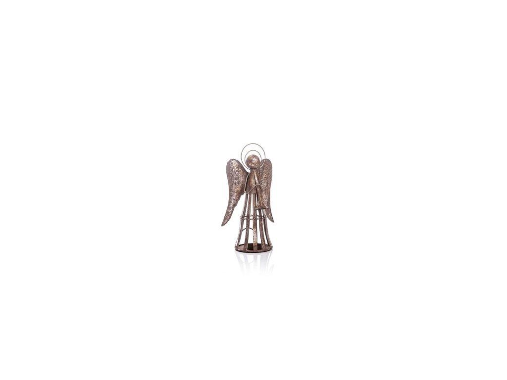 Kovový anděl na svíčku s patinou 19x12x35 cm stříbrná/šedá