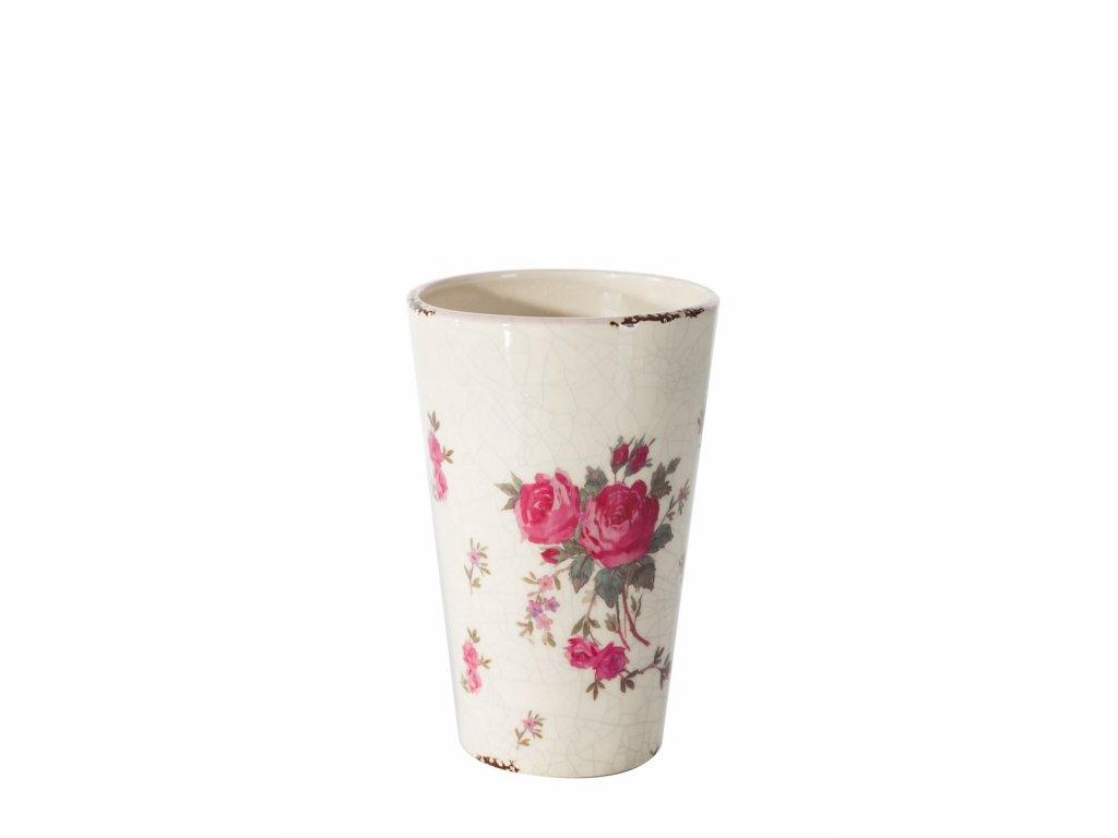 Keramická vázička s růžičkami výška 13 cm smetanová/růžová