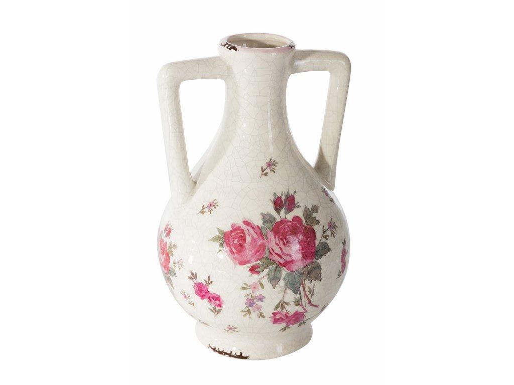 Keramická váza s růžičkami výška 24 cm smetanová/růžová