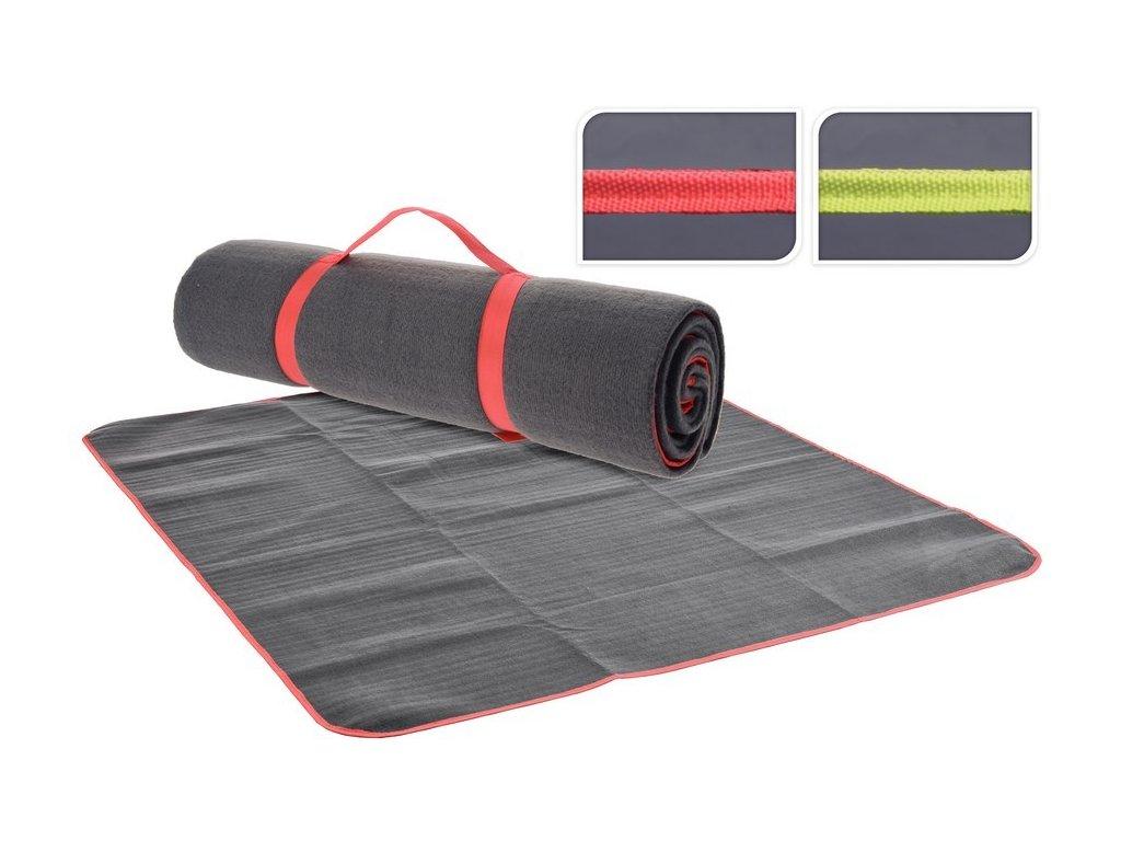 Kempingová deka 130x150 cm šedá/červená