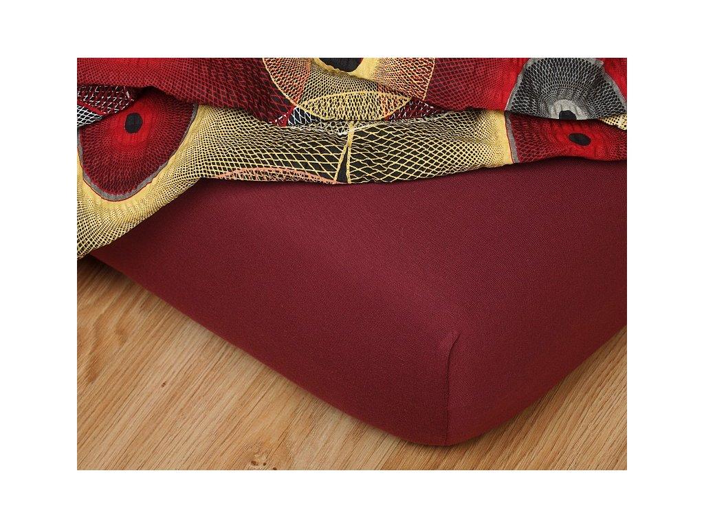Jerseyové prostěradlo do gumičky 3-C 185g/m2 bordó
