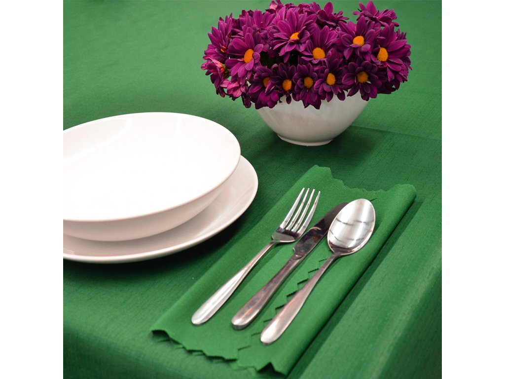 Jednobarevný teflonový ubrus Standard č.3046 UNI tmavě zelený