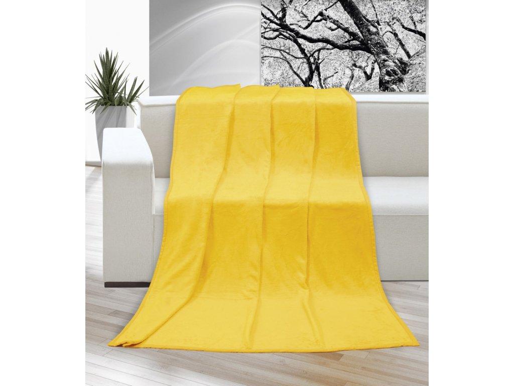 Hřejivá deka příjemná na dotek Korall micro 400g/m2 150x200 cm žlutá