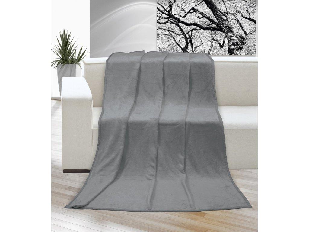 Hřejivá deka příjemná na dotek Korall micro 400g/m2 150x200 cm šedá